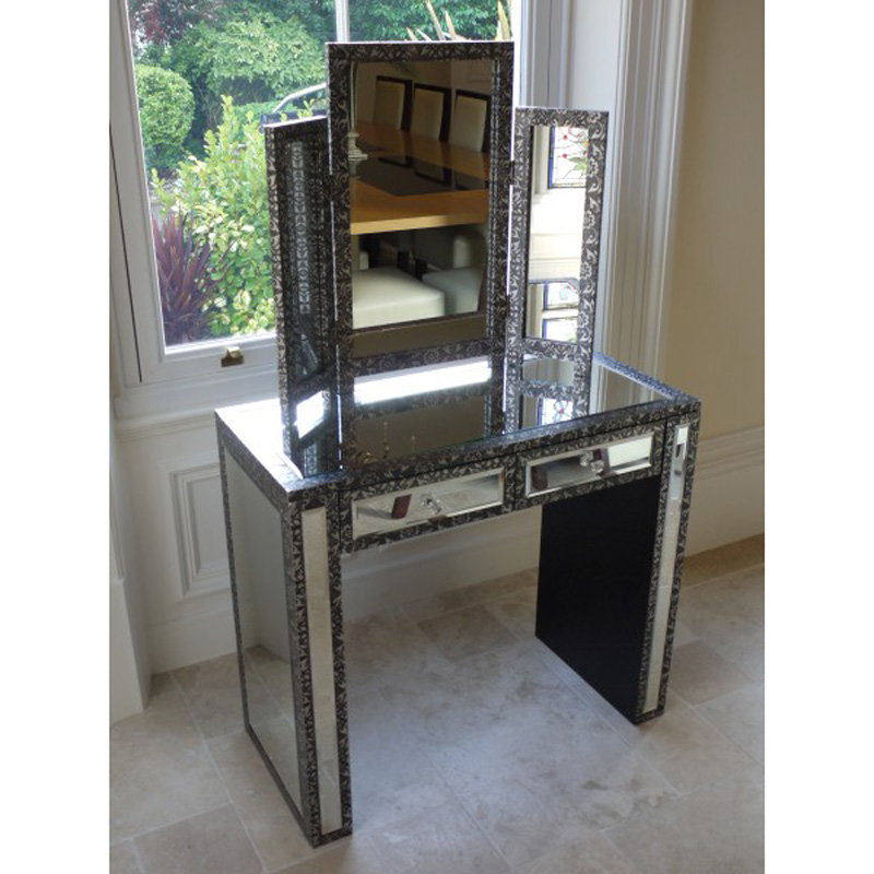 Silver Dressing Table and Mirror - Monique Range
