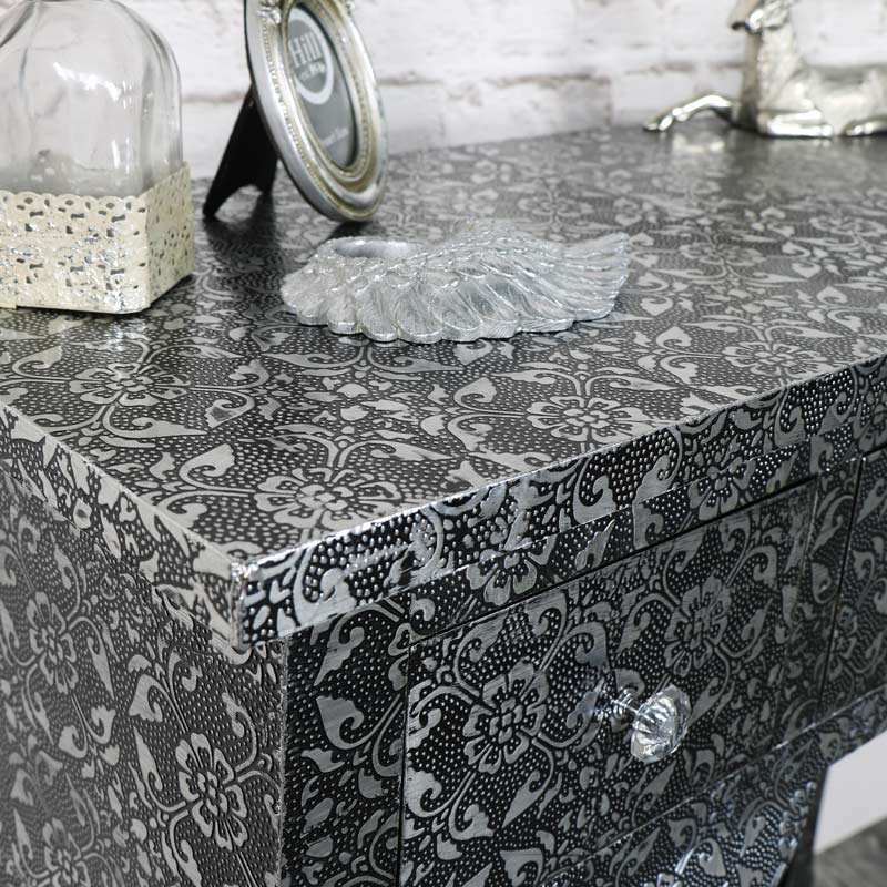 Silver Embossed 3 Drawer Dressing/Console Table - Monique Range