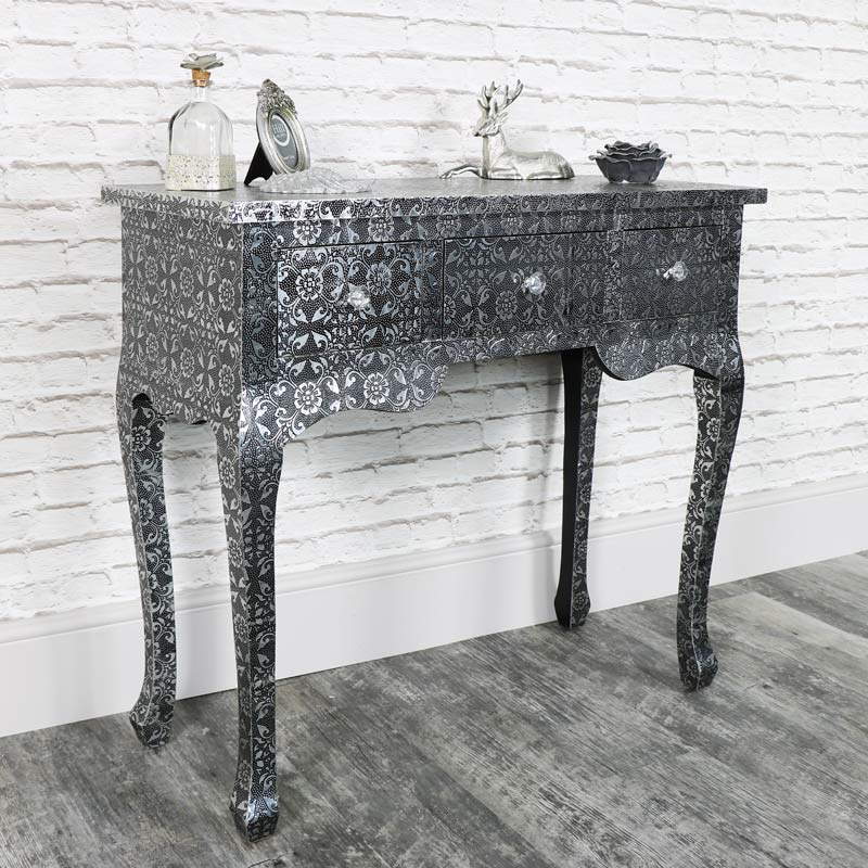Silver embossed 3 drawer dressing console table monique for Range dressing table