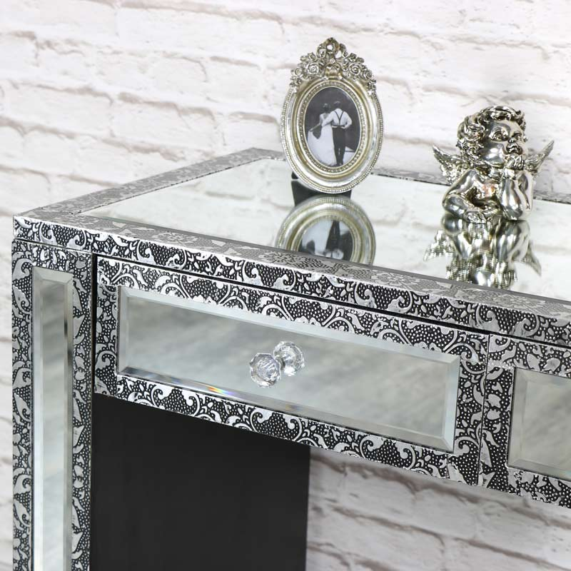Silver Embossed Mirrored 2 Drawer Dressing Table - Monique Range