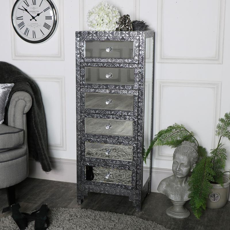 Silver Embossed Mirrored 6 Drawer Tallboy - Monique Range