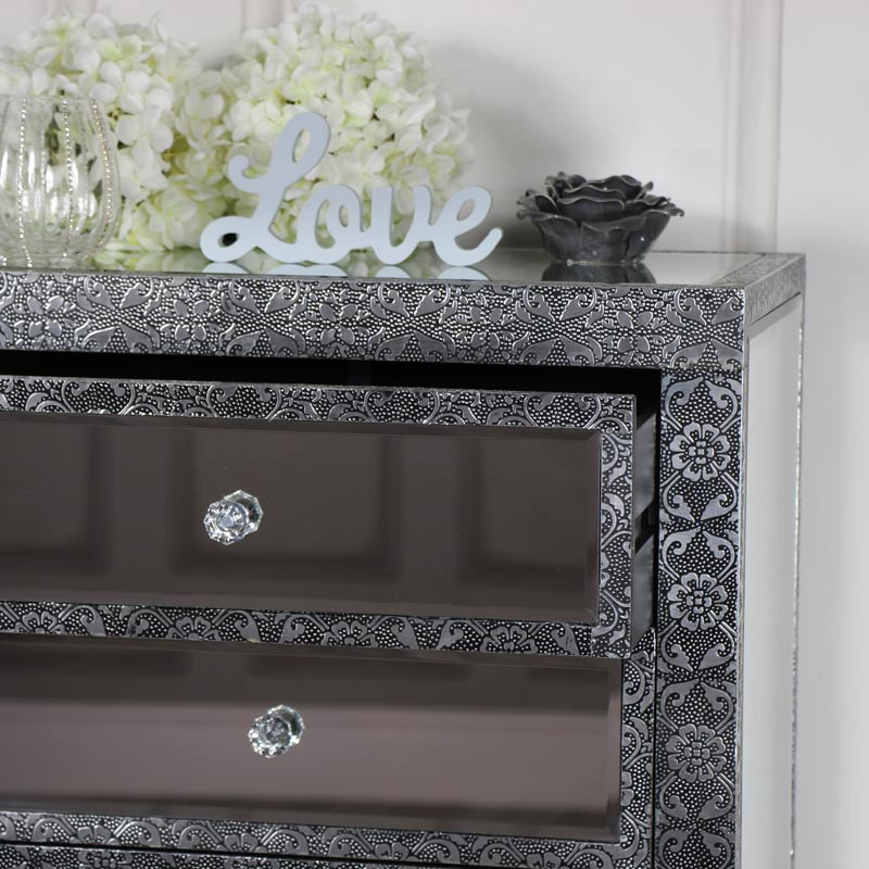 Silver Embossed Mirrored Slim Chest of Drawers - Monique Range