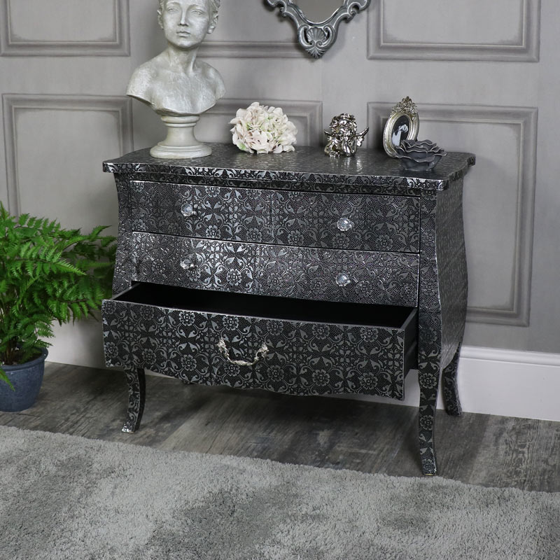 Silver Embossed Ornate 3 Drawer Chest Of Drawers Monique