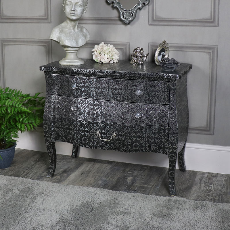 Silver Embossed Ornate 3 Drawer Chest of Drawers - Monique Range