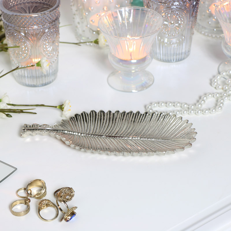 Silver Feather Trinket Dish