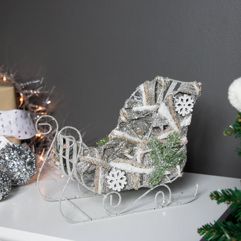 Silver Glitter Frosted Christmas Sleigh