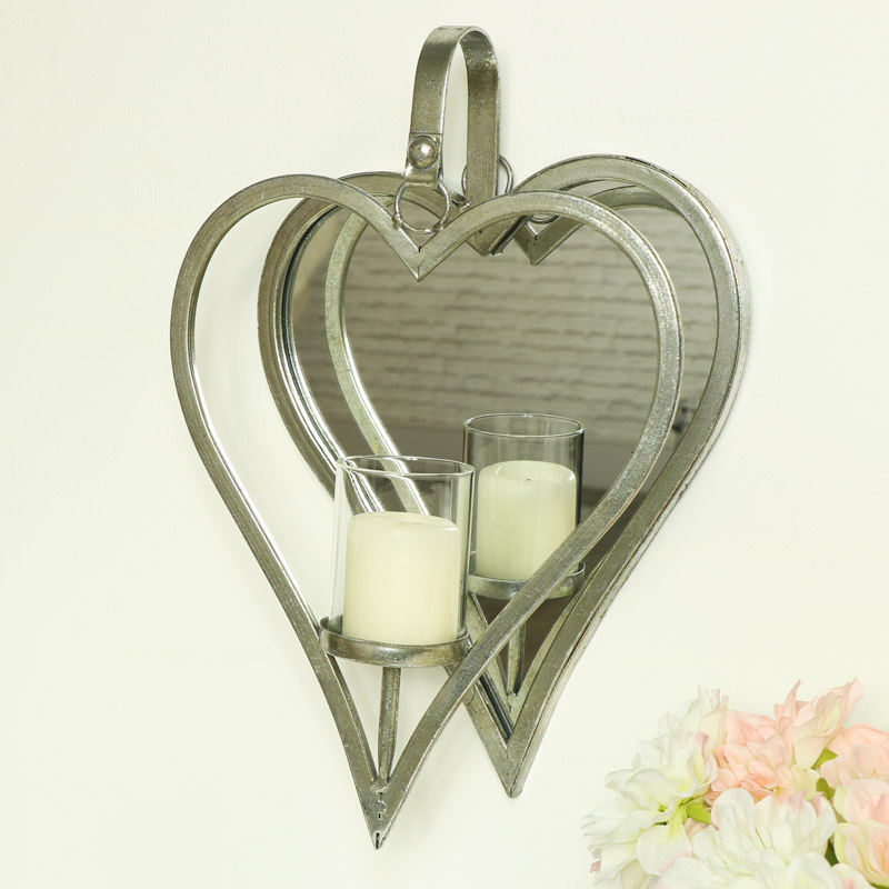 Silver Hanging Heart Mirror Candle Sconce Melody Maison