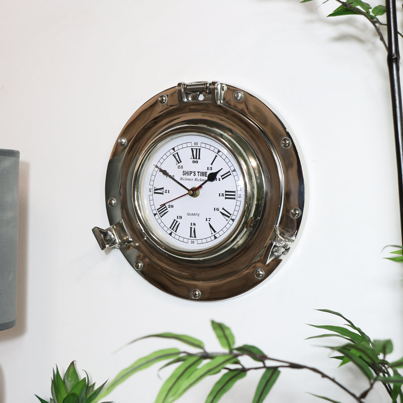 Silver Metal Nautical Porthole Wall Clock
