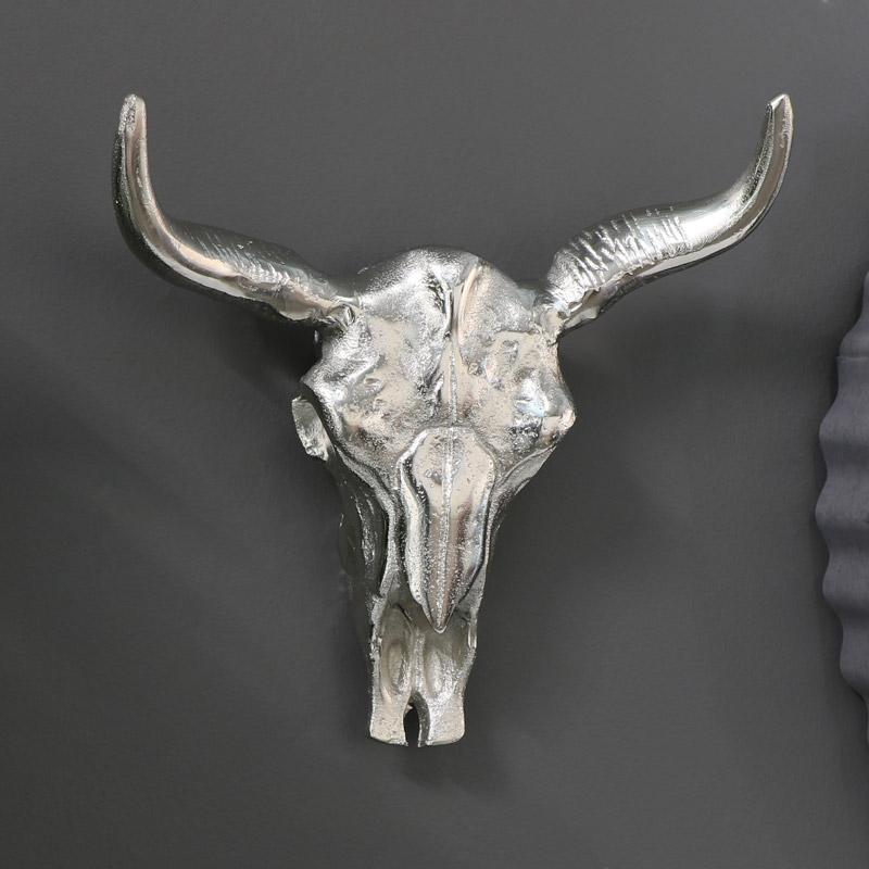 Silver Metal Wall Mounted Bull Skull