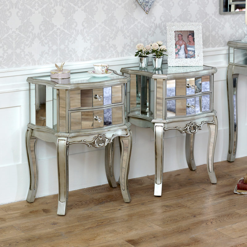Silver Mirrored Bedroom Furniture, Chest of Drawers, Dressing Table Set & Bedside Tables - Tiffany Range