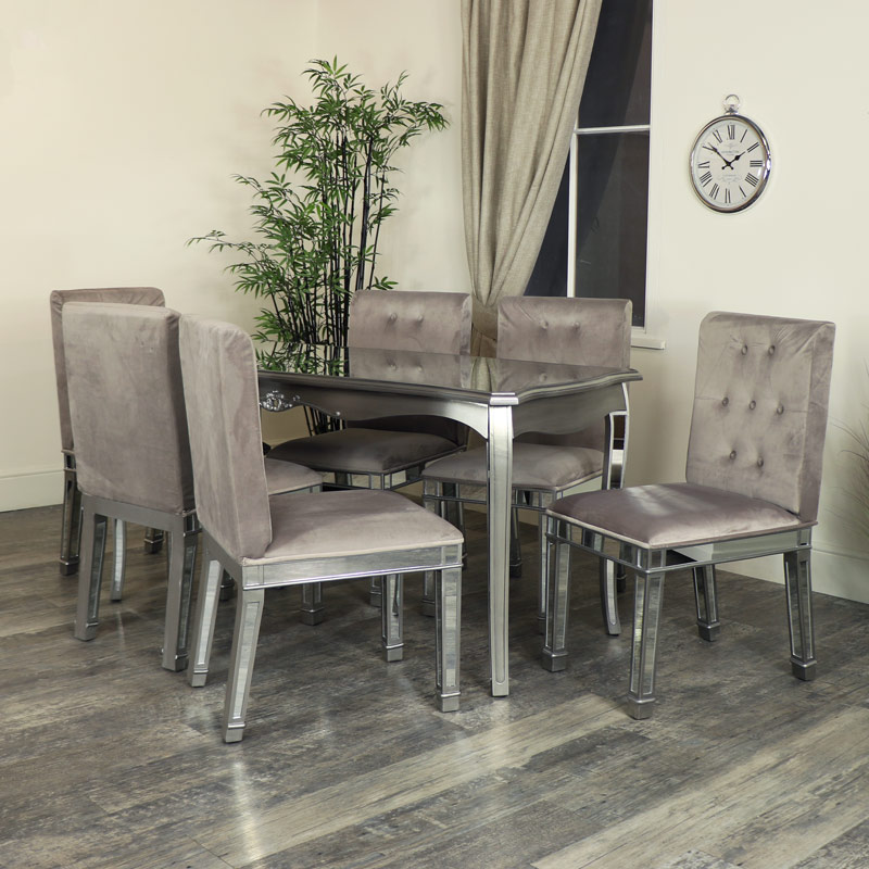 Silver Mirrored Dining Table U0026 Chair Set   Tiffany Range ...