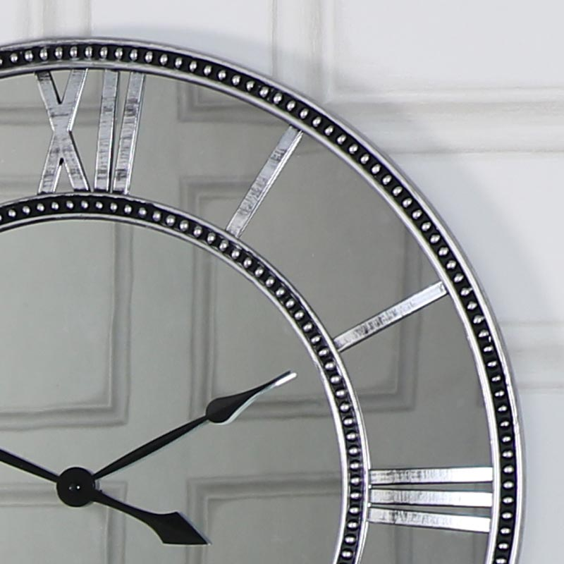Large Silver Mirror Skeleton Style Wall Clock Shabby