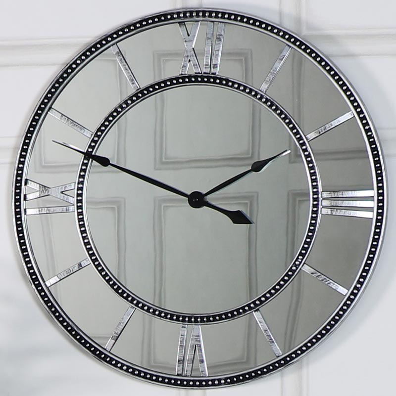 Silver Mirrored Skeleton Wall Clock Melody Maison 174