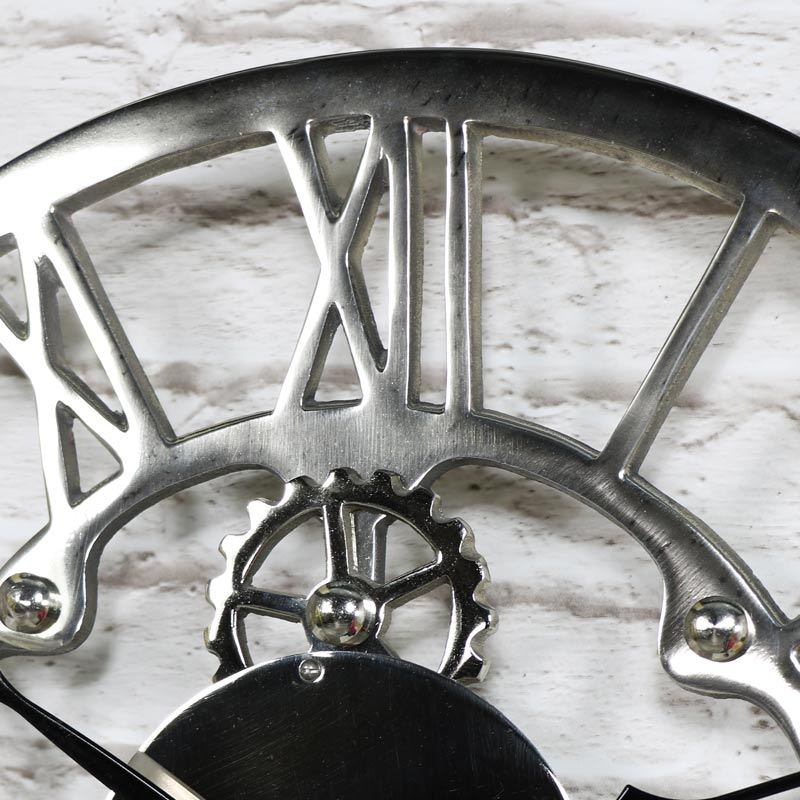 Silver Nickel Cog Skeleton Wall Clock