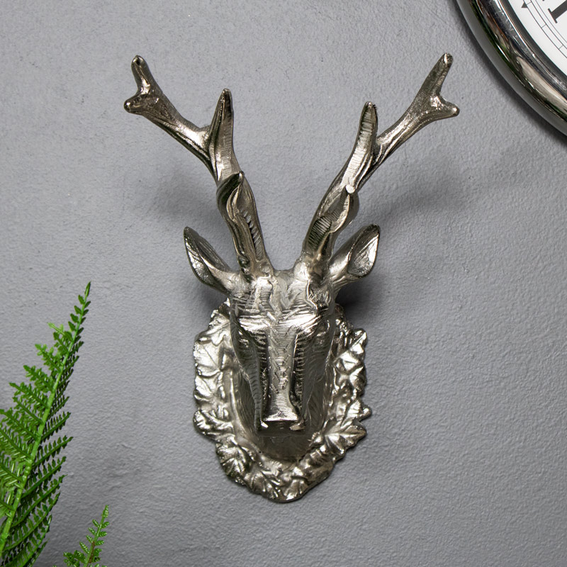 Silver Ornate Wall Mounted Metal Stags Head