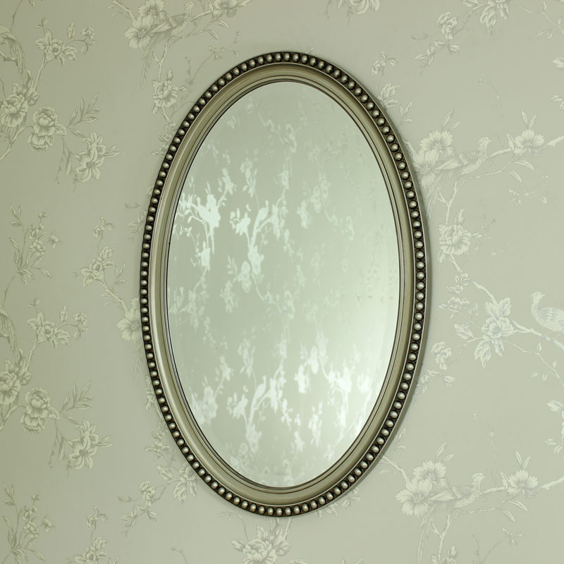 Silver Oval Wall Mirror