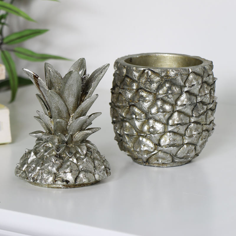 Silver Pineapple Trinket Jar
