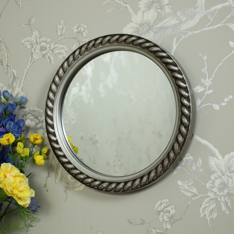 silver rope effect round wall mirror melody maison. Black Bedroom Furniture Sets. Home Design Ideas