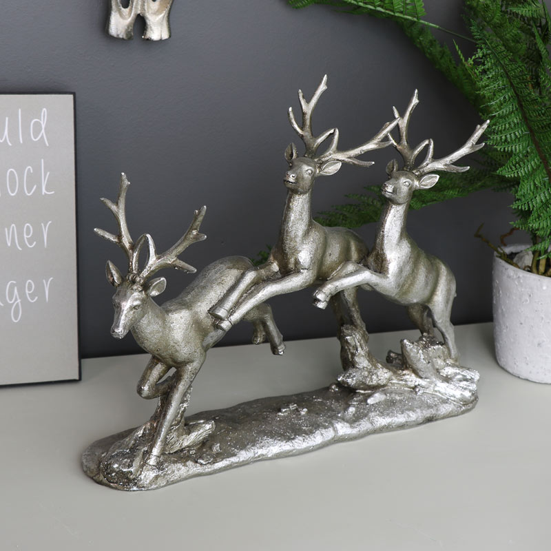 Silver Running Stag Ornament