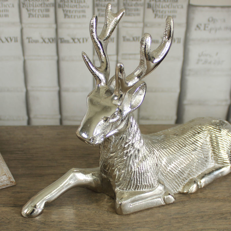 Silver Sitting Stag Ornament