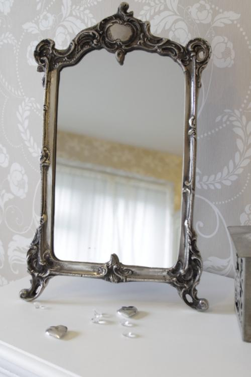 Silver vanity mirror dressing table bathroom french shabby