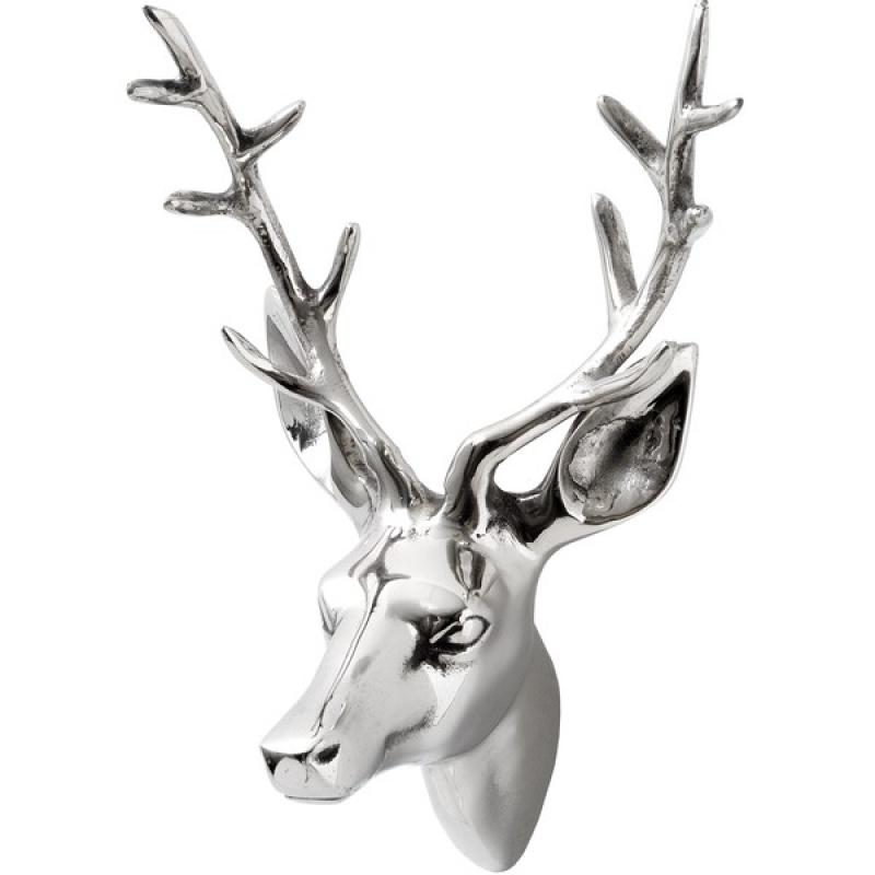 Silver wall mounted stag 39 s head melody maison - Silver stag head wall mount ...