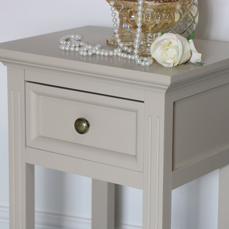 Grey Slim Bedside Table - Daventry Taupe-Grey Range