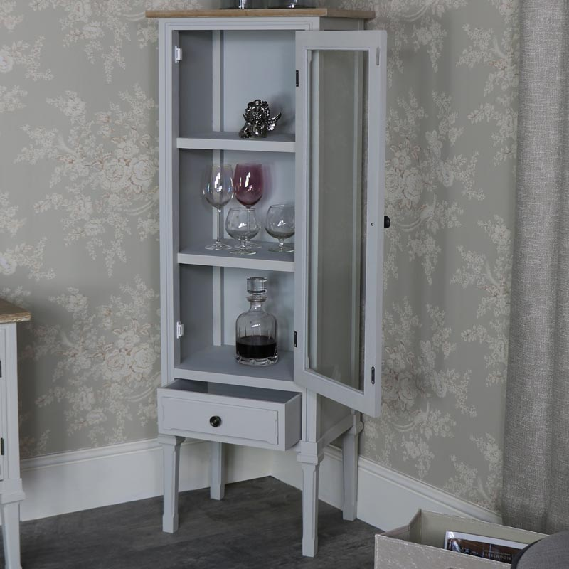 ... Slim Grey Glazed Display Cabinet   Stanford Range ...