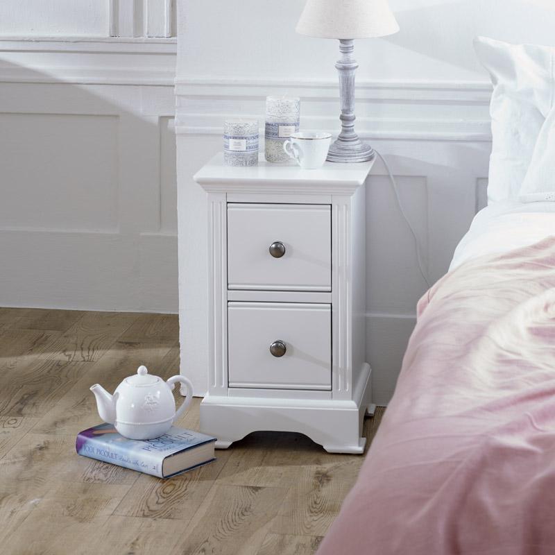 Slim White Bedside Table - Davenport White Range