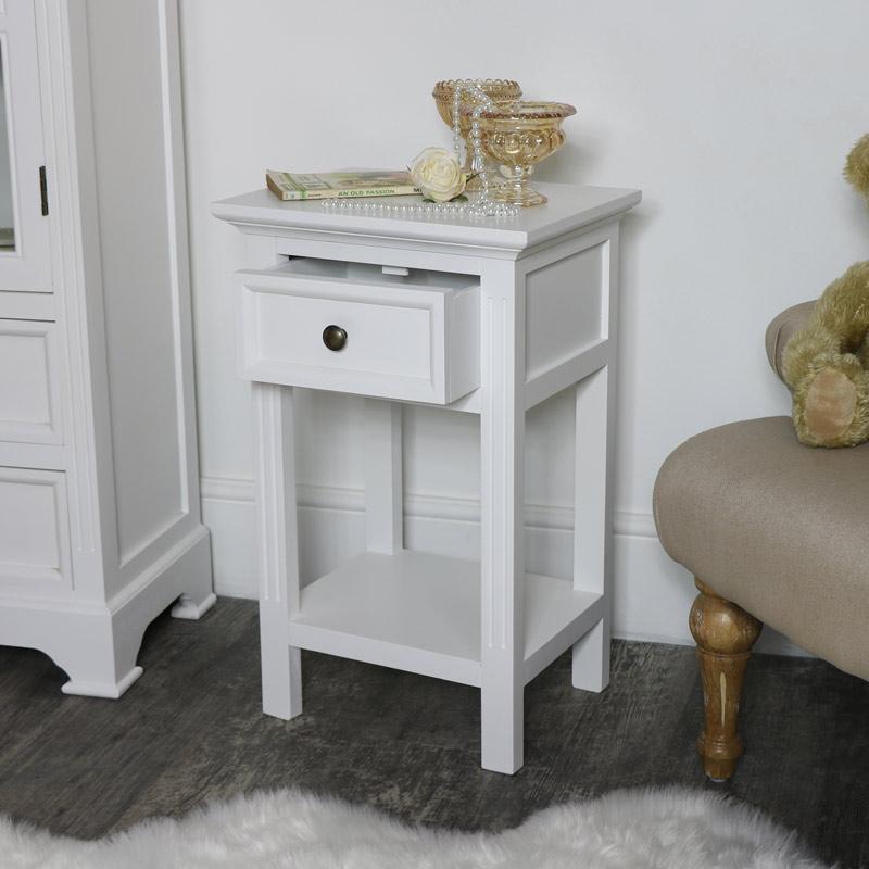 Slim White Bedside Table - Daventry White Range