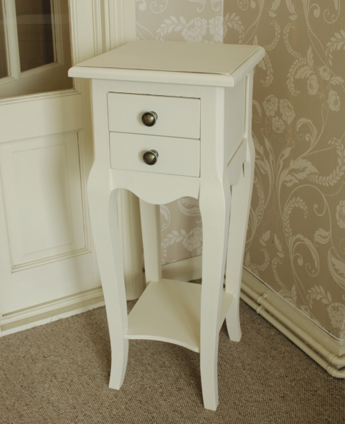 Small Cream 2 Drawer Bedside Table Melody Maison