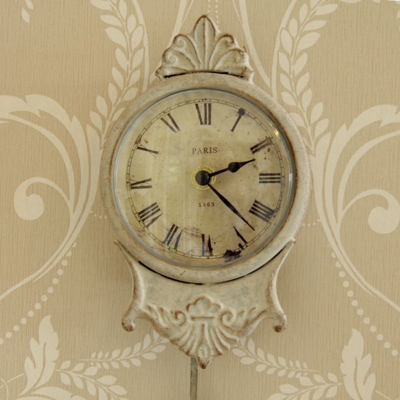 Small Cream Pendulum Wall Clock