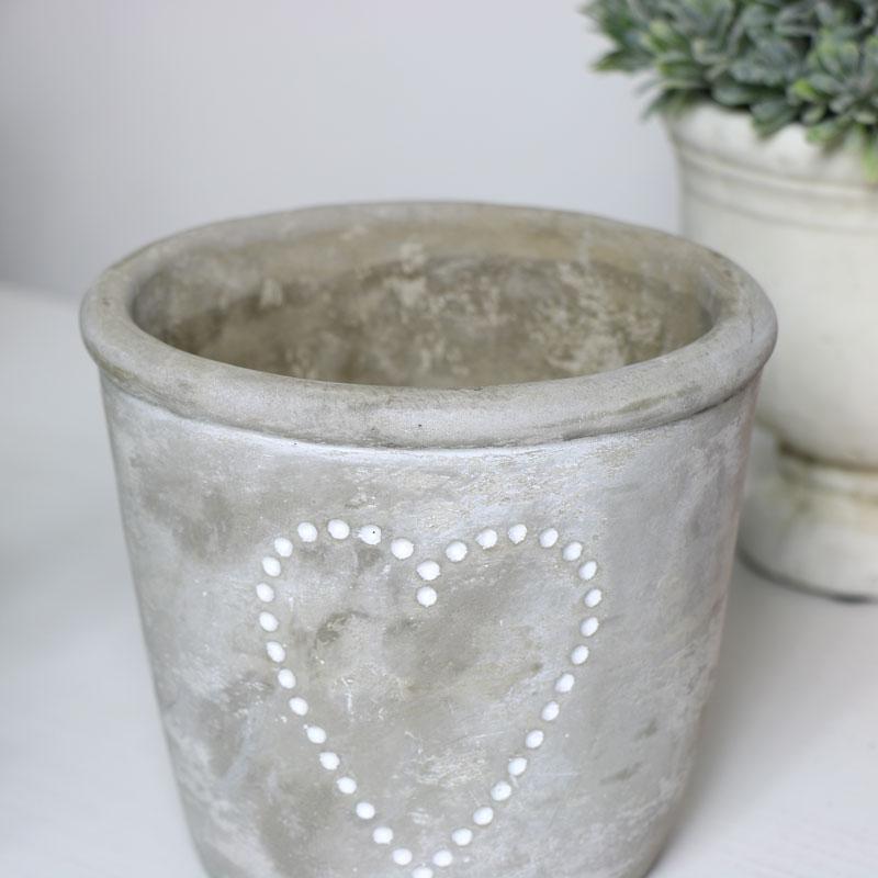 Small Grey Stone Heart Planter