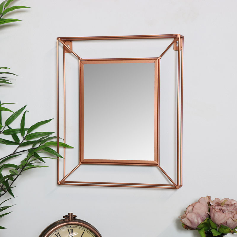 Small metal copper frame wall mirror melody maison for Metal frame mirror