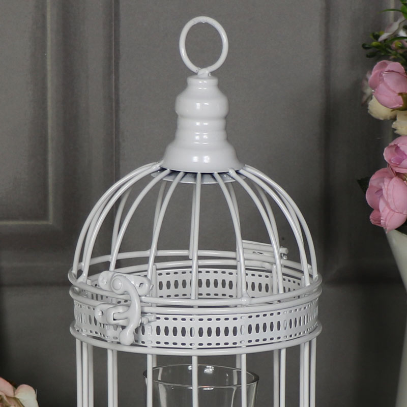 Small Ornate Antique White Birdcage Lantern Candle Holder