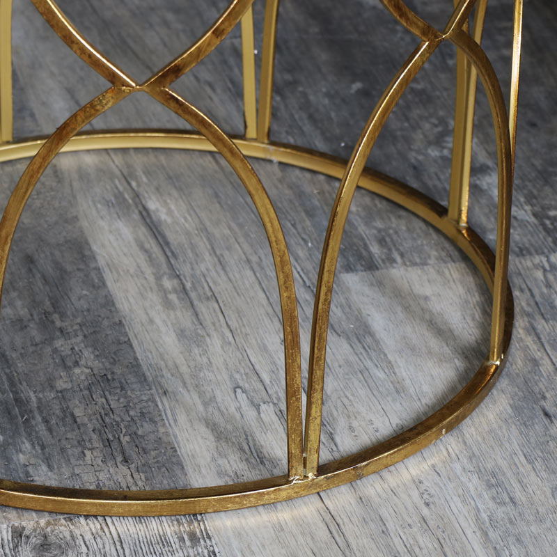 Small Ornate Gold Mirrored Side Table