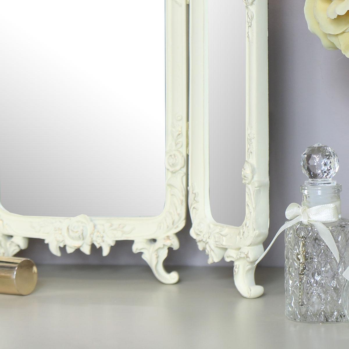 Small Ornate Rose Triple Mirror  - 38cm x 38cm