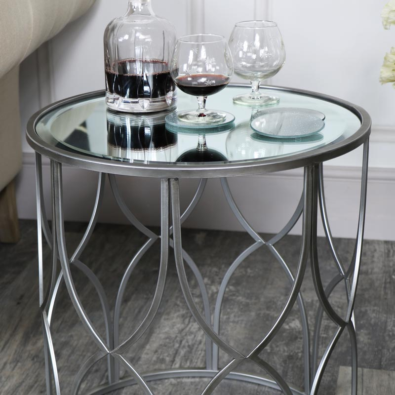 Small Ornate Silver Mirrored Side Table