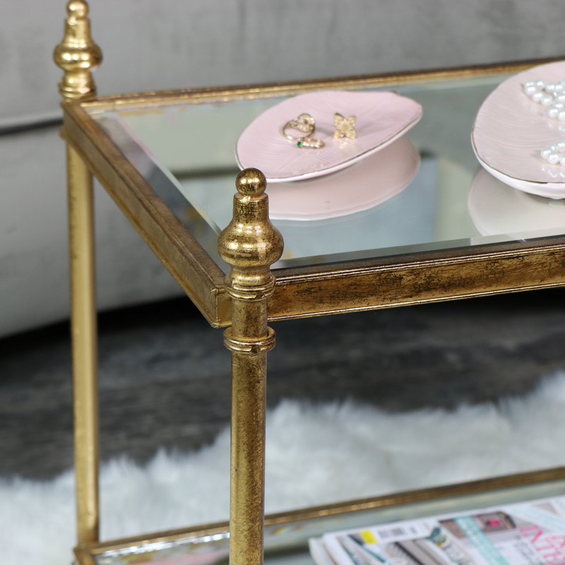 Small rectangle antique gold mirrored side table melody for Small gold side table