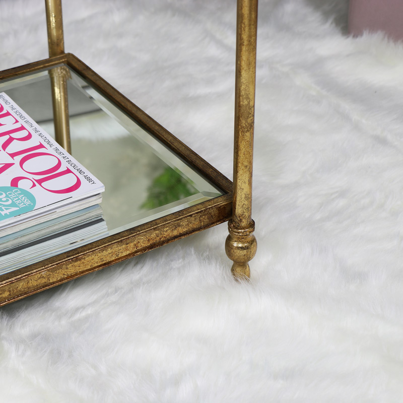 Antique Gold Mirrored Coffee Table: Small Rectangle Antique Gold Mirrored Coffee Table