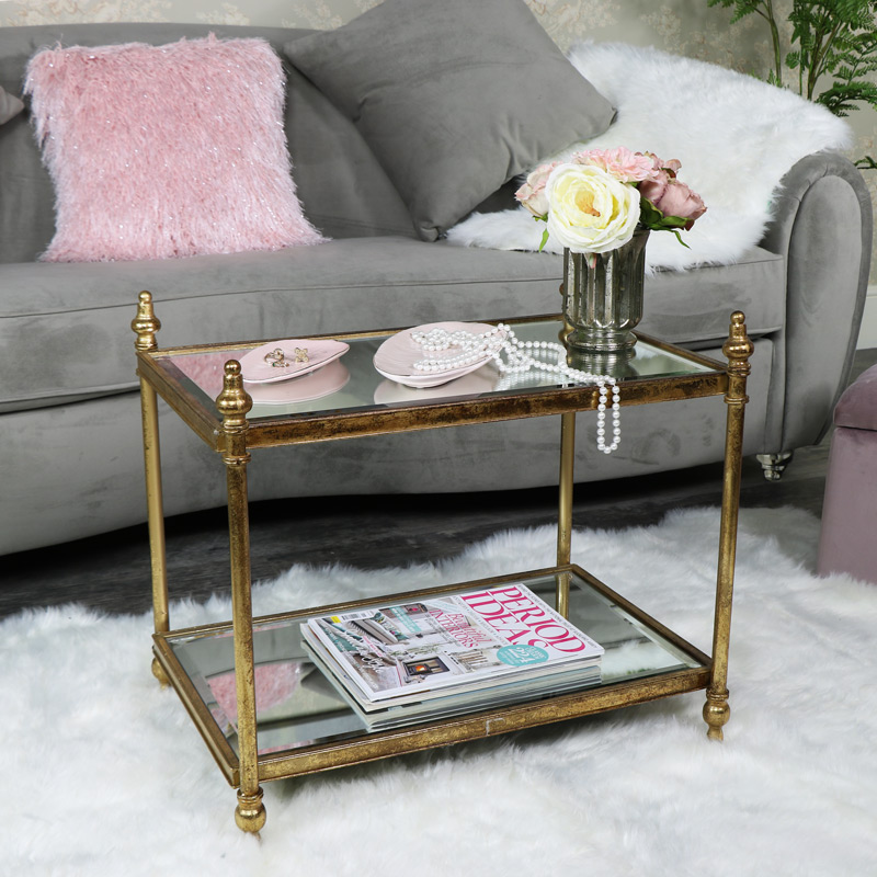 Small Rectangle Antique Gold Mirrored Coffee Table