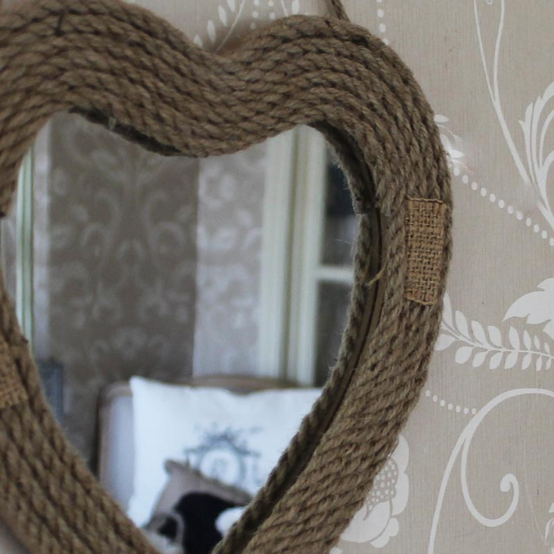 Small vintage heart rope twine hessia wall hanging mirror for Small hanging mirror