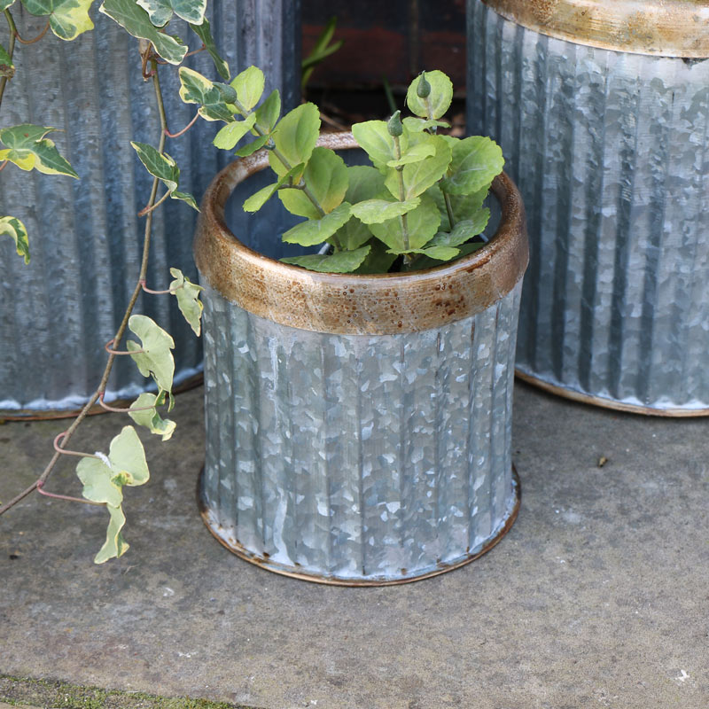 Small Round Grey Metal Industrial Style Planter