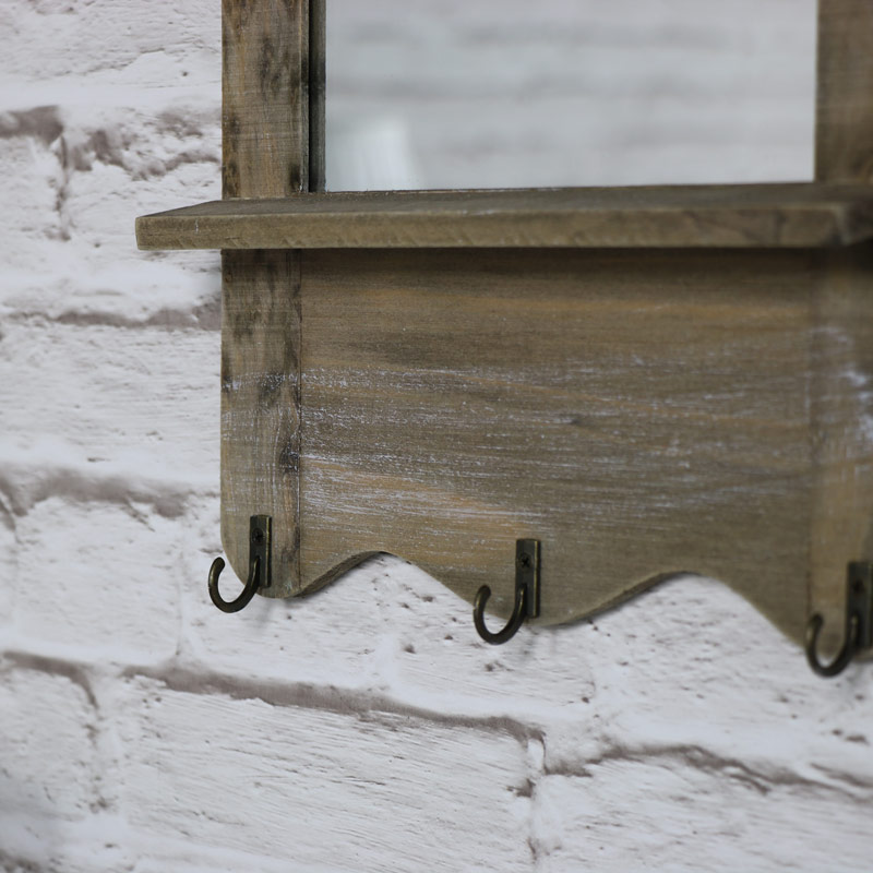 Small Rustic Wooden Mirror with Hooks