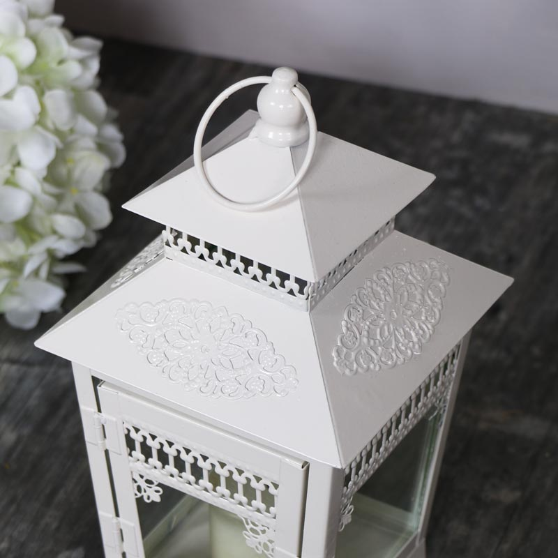 Small Vintage Cream Candle Lantern