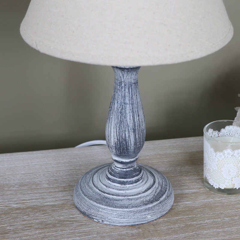 small vintage grey washed wooden bedside table lamp. Black Bedroom Furniture Sets. Home Design Ideas