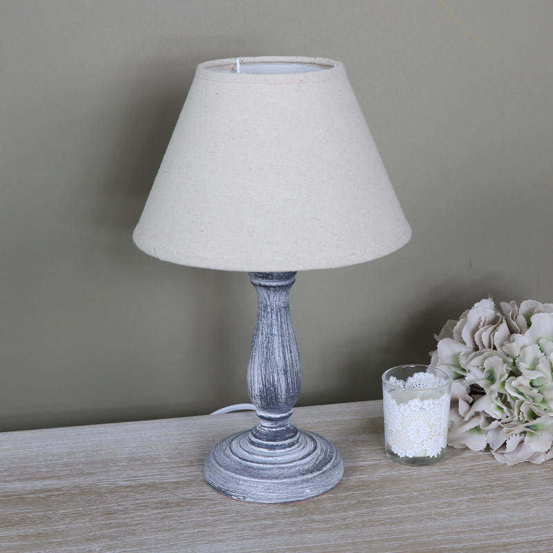 Small vintage grey washed wooden bedside table lamp for Vintage wooden table lamps