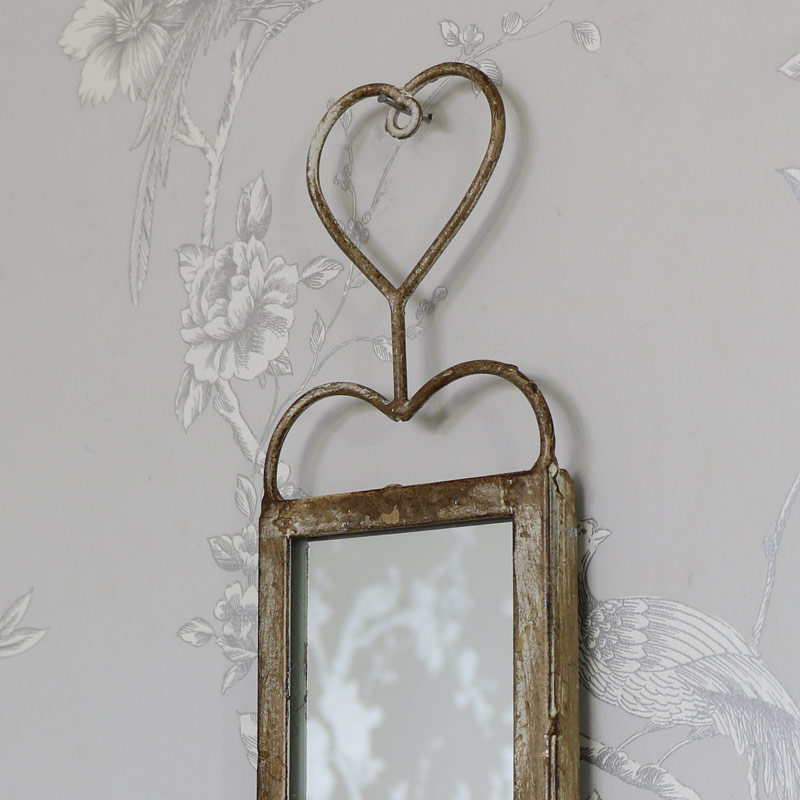 Small vintage wall hanging mirror sconces melody maison for Hanging mirror