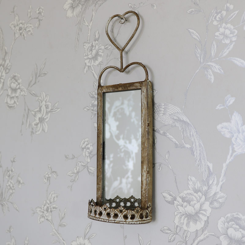 Small Vintage Wall Hanging Mirrored Sconce