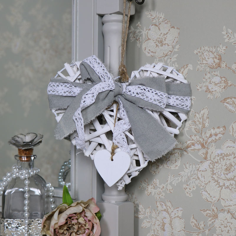 Small White Wicker Heart with Lace Bow